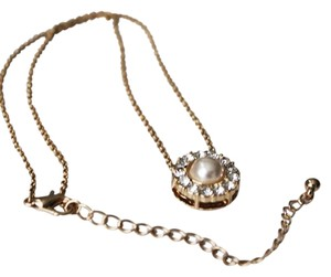 Other Gold Tone Crystal Glass Pearl Charm Necklace