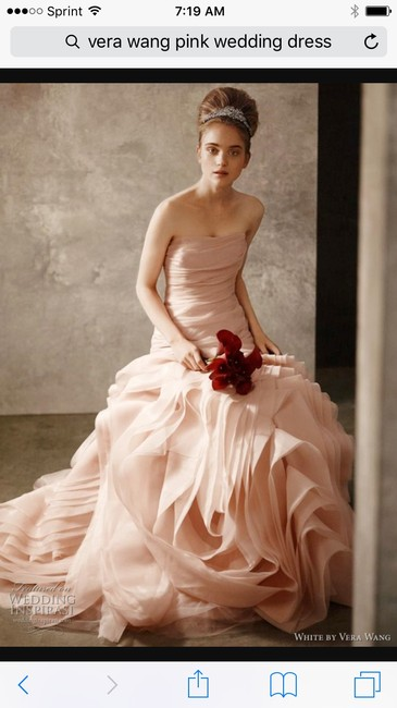 Item - Pink Organza Trumpet Fit and Flare Formal Wedding Dress Size 4 (S)