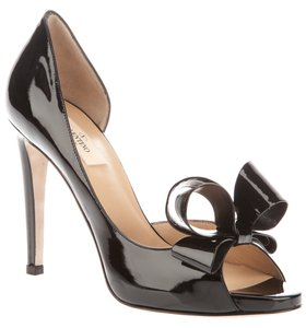 Valentino Nwt 41 10.5 Black Patent Leather D'orsay Open Toe Bow Pump Wedding Shoes