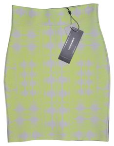 BCBGMAXAZRIA Stretchy New Skirt Neon Yellow