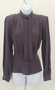 Other Levante Paisley Ls Pleated Tie Neck Button Down B156 Top Purple