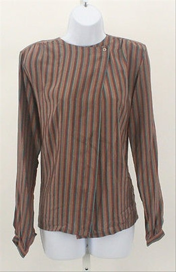 Irka Gray Rust Teal Multi Striped Ls Silk Blouse B156 #7357414 - Blouses free shipping