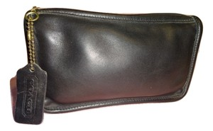 Coach COACH VINTAGE Black Leather CHUNKY COSMETIC CASE Ticking Lined