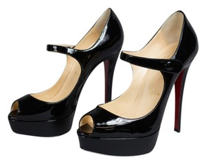 Christian Louboutin Peep Toe Beige Stiletto Platform Patent Black Pumps