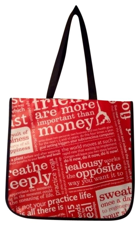 Lululemon Large Reusable Ping Tote In Red Black