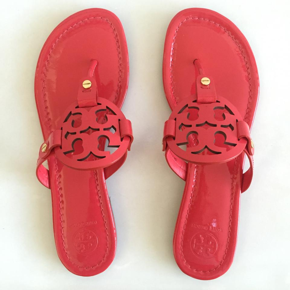 c0ab3fea149d Tory Burch Ruby (Red) Miller Patent Leather Logo Thong Sandals Size ...