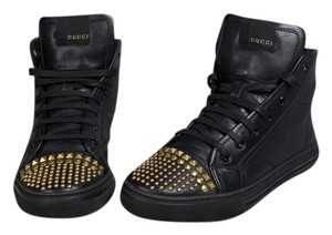 Gucci Studded Leather Sneakers High Top Black Athletic