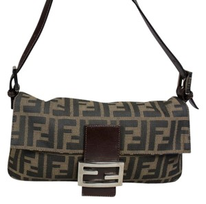 Fendi Zucca Monogram Ff Logo Shoulder Bag
