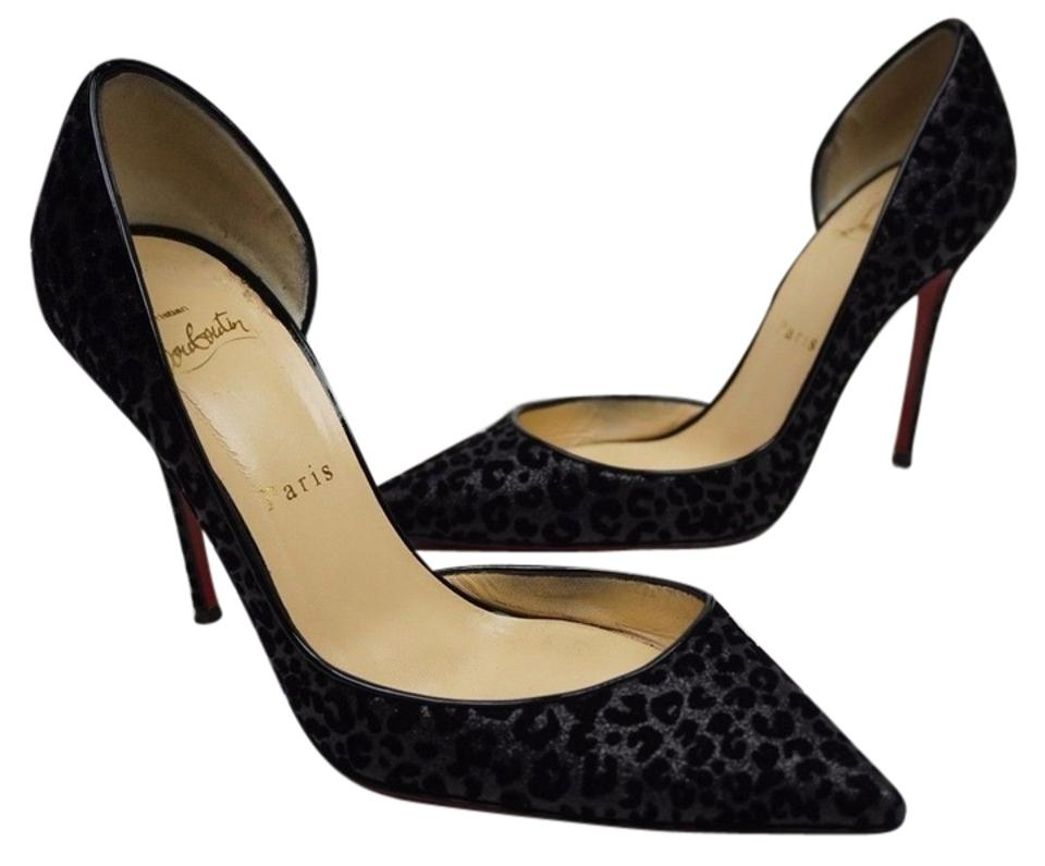 watch 58b38 cc8bc Christian Louboutin Black Iriza Suede Leopard Half D'orsay Heels Pumps Size  US 7 Regular (M, B) 41% off retail