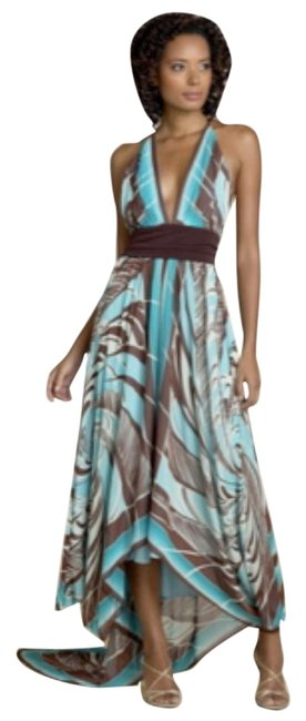 Item - Multi (Chocolate Brown Turquoise White) Silk New with Tags High-low Formal Dress Size 2 (XS)