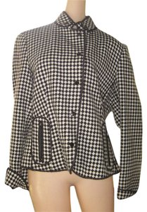 Carlisle Checkered Zipper Pocket Wool Snap Front Classic Cute Fun Cuff Black n White Blazer