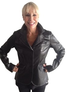 Vakko Leather Contrast Stitching Very Flattering Super Soft Leather Leather Jacket