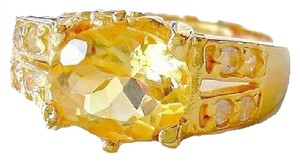 3.06ctw Natural Citrine and White Topaz 925 Sterling Silver 18k Ring 10