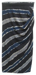 Cut25 Stripes Black Blue Midi Skirt Multi