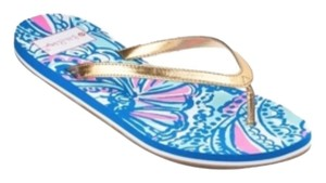 Lilly Pulitzer for Target Blue pink and gold Sandals