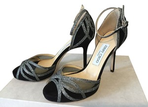 Jimmy Choo Mambo Silver Black Suede Anthracite Lame Glitter Formal