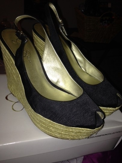 Jessica Simpson Spring Summer Black and Tan Wedges