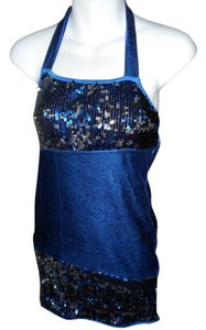 METALLIC ROYAL BLUE EMBELISHED WITH SEQUINS Halter Dress
