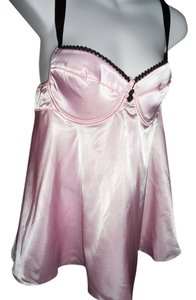 SATIN PINK BABY DOLL SEXY SATINY PINK WITH BLACK LACE BABYDOLL SET