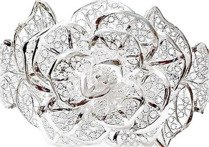 Beautiful Filigree Rose Cuff Bracelet 925 Sterling Silver