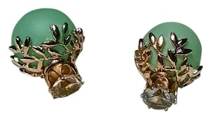 New Double Ball Crystal Stud Earrings Large Light Green Gold J1365