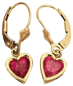 Littman Jewelers 10k Gold Created Ruby Heart Love Shape Earrings