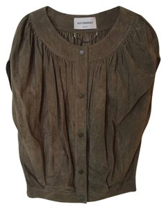VIKTOR & ROLF Suede Blouson Gathered Pleated Green Olive Cape Cap Sleeve Vest