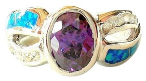 Other Amethyst, White Topaz & Opal 925 Sterling Silver Ring Size 7