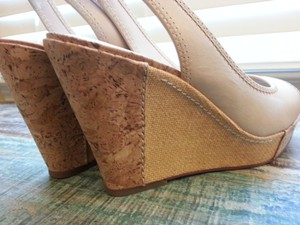 MRKT Slingback Comfortable Leather Neutral Cork Beige Wedges