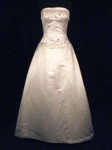 "Melissa Sweet Ivory Silk Satin ""Flora"" Gown with Embroidery And Wedding Dress Size 8 (M)"
