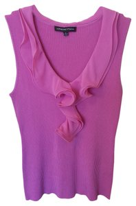 Adrienne Vittadini Office Evening Ruffle V-neck Sleeveless Top Pink