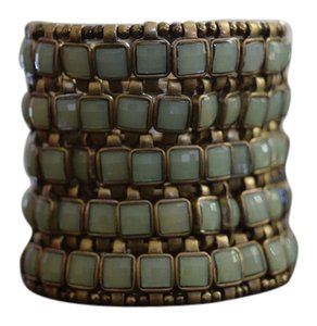Forever 21 Stretchy Gold Cuff Bracelet with Aqua Stones