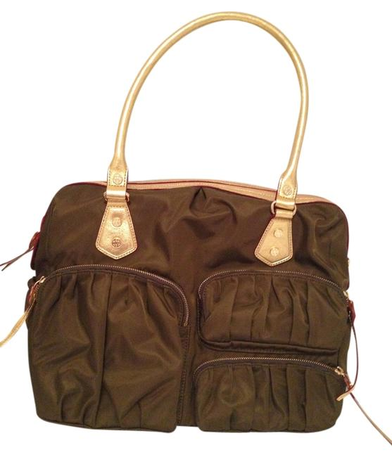 Item - Kate Olive Green / Gold Nylon / Leather Weekend/Travel Bag
