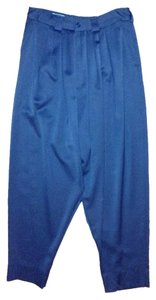 Kenzo Vintage Wool Satin Twill Side Pockets Fly Made In France Relaxed Pants Navy