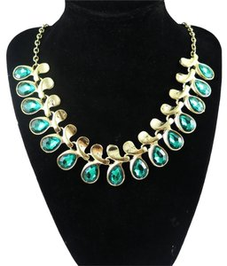 New Green Gold Crystal Bib Necklace 18-22 inches Long J1368