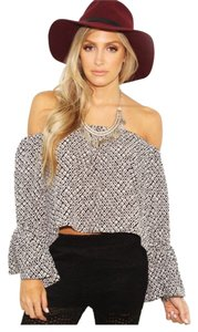 Stone Cold Fox Scf Lace Chain Lace Crop Top Black and white