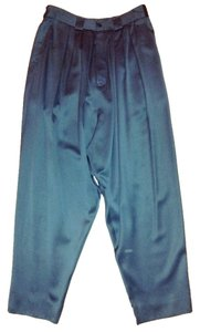 Kenzo Vintage Side Pockets Fly Made In France Pleated Front & 100% Wool Satin Twill Relaxed Pants Black
