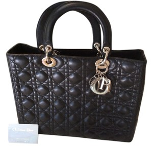 Dior Lambskin Leather Quilted Satchel in Black