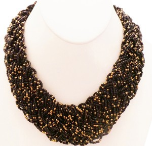 Other Hand-Made Czech Glass Black Braided Bead Statement Necklace