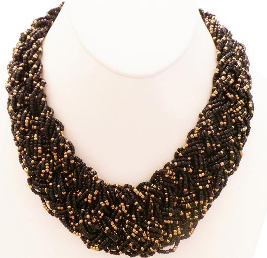 Preload https://item3.tradesy.com/images/blak-and-gold-hand-made-czech-glass-braided-bead-statement-necklace-736702-0-0.jpg?width=440&height=440