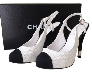 Chanel Leather Slingback Fabric Toe Black & White Pumps
