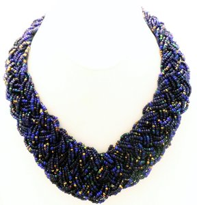 Hand-Made Czech Glass Blue Braided Bead Statement Necklace
