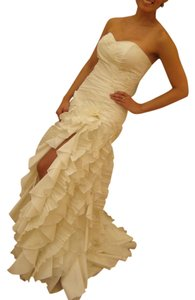 Cymbeline Paris Ivory Satin and Chiffon Libra Modern Wedding Dress Size 4 (S)