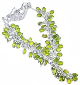 Genuine Peridot Cabochan Charm Necklace