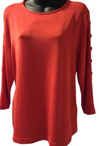 Chico's Open Panels Spandex Acetate Top Tomato