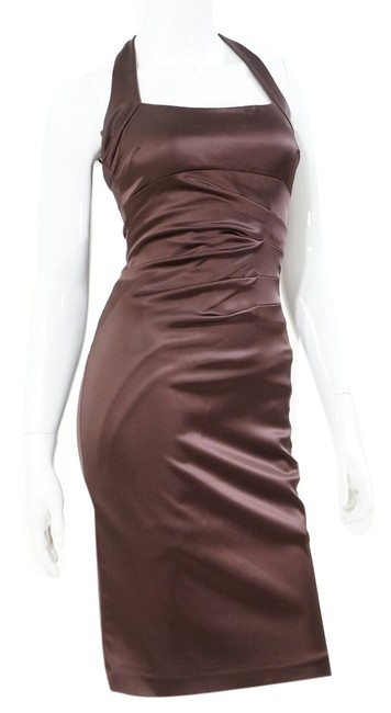 Cache Chocolate Satin Ruched Halter Rushed Sexy Sophisticated Prom Wedding Bridesmaid Maid Of Honor Moh Bm Night Out Fitted Dress