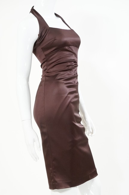 Cache Chocolate Satin Halter Rushed Sexy Sophisticated Prom Wedding Bridesmaid Maid Of Honor Moh Bm Night Out Fitted Dress