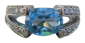 Other 14K White Gold Swiss Blue Topaz and Diamond Ring