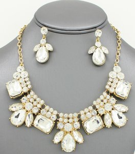 Clear Crystal Statement Jewelry Set