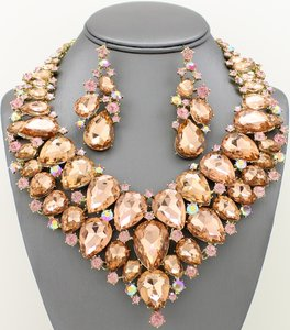 Peach Crystal Statement Jewelry Set